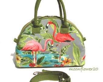 Flamingo Dome Satchel Bag With Double Corded Handles and Adjustable Shoulder Strap