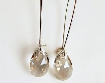 Silver crystal earrings - long teardrop earrings - Swarovski crystal - crystal earrings - silver earrings