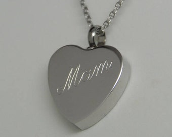 """Stainless Steel """"Mom"""" Heart Cremation Urn Necklace 
