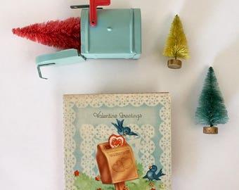 Darling Vintage 1940s Valentine Card with Love Birds, Hearts, Blue Birds, Valentine Mailbox, NOS