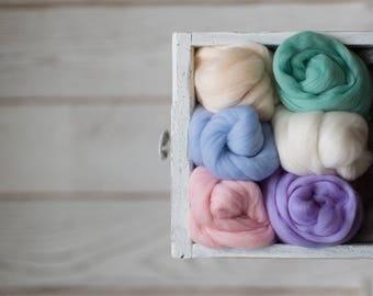 Felting wool roving palette kit - Merino wool combed tops assortment set of 6 colors for wet felting spinning weaving - Craft gift starter