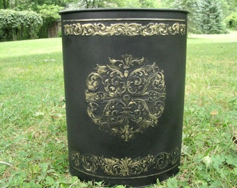 Vintage Black Metal Trash Can | French Chic Waste Paper Basket | Hollywood Glam|  Home Office Decor