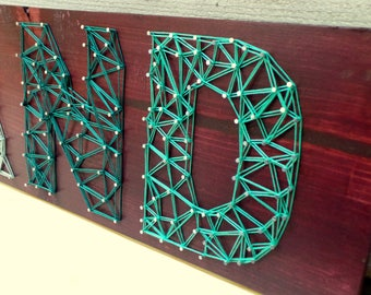 Oakland Pride - Modern String Art Wooden Name Tablet - 7 letters