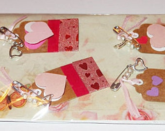 Mini chipboard Gift Tags, Handmade embellishments:ribbon,lace,pearls,mailed