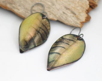 Soft Yellow and Dark Brown Leaf Earrings, Striped Copper Dangles, Vitreous Enamel Leaves, Deluxe Original Gift for Her, Ready to Mail