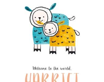 Baby sheep, printable custom baby announcement
