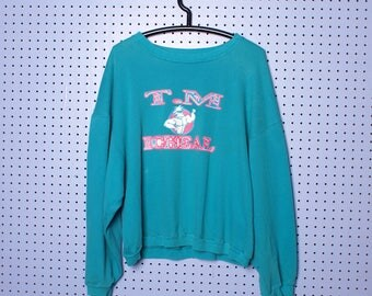 Vintage 90s TM Michaels Neon Bodybuilding Crop Pullover sweatshirt
