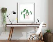 modern botanical plant art print. Fine Art Lustre Print. minimal abstract digital illustration. millennial pink planter and green tropical