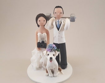Photographer & Weightlifter Custom Made Wedding Cake Topper