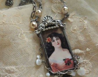 Soldered Assemblage Necklace, Beautiful Rose - REDUCED