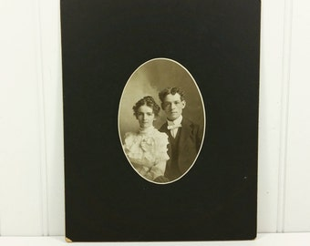 Victorian Wedding Portrait of Bright Eyed Couple, Husband and Wife Sepia Found Photo