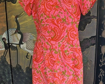 Pink Paisley Dress - 1960's vintage dress - psychedelic dress - Pucci style - floral - vintage - size M - Mad Men - troppobella