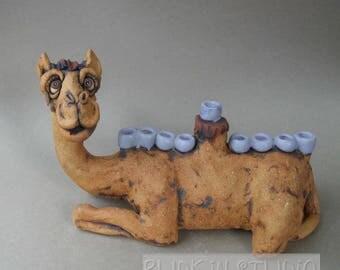 Camel Menorah Ceramic Animal Sculpture