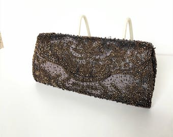 Vintage 1950's Neiman Marcus Beaded Clutch - Make in France - Chocolate Brown Satin with Seed Beads