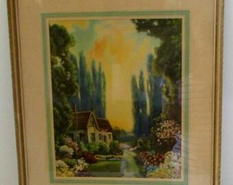 Vintage Cottage Print Atkinson Fox Style English Cottage Original Frame Framed Cottage Flowers