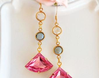 Rose Pink Earrings - Pink Dangle Earrings - Art Deco Jewelry - Geometric Earrings - FLIRT Rose