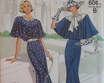 Simplicity 9360  60th Anniversary Pattern 1930s MIsses Town Dress with tie collar and Capelet Pattern  Misses size 6-12
