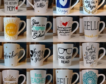 PICK YOUR OWN Coffee Mug Pair (2) // Coffee Mugs with Sayings // Personalized Mugs // Tea Cup // Teacher Gift // Mothers Day // Fathers Day