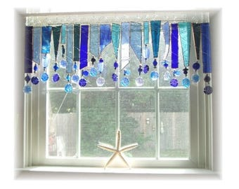 Blues Hues OOAK  Stained Glass Window Treatment Valance Kitchen Valance Bathroom Valance Bedroom Valance