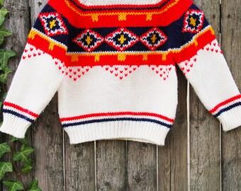 Vintage Kids SKI Sweater Children's WINTER Sweater White Pullover FOLK Sweater