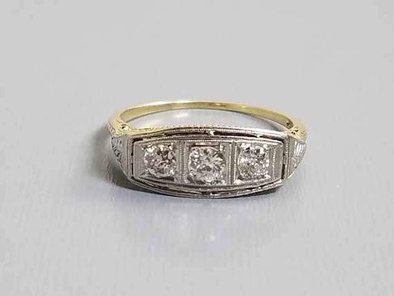 Antique  vintage Art Deco 14k filigree European cut diamond anniversary wedding engagement ring .35 carat / three stone / 3 stone / size 8.5