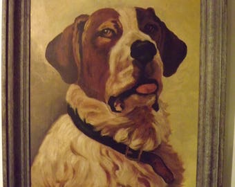 Antique 1891 St. Bernard Dog Oil Painting on Canvas