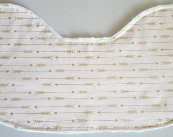 Burp Cloth - Metallic Gold Arrows on Light Pink with Mint Green Minky, Contoured Burp Cloth Burpie