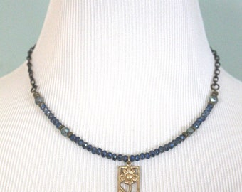 Vintaj Jewelry, Flower Jewelry, Celadon Jewelry, Floral Pendant, Brass Necklace, Nature Jewelry, Crystal Necklace, Gift Ideas