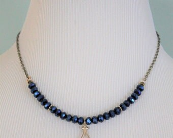 Vintaj Jewelry, Vintage Look, Deep Blue Necklace, Natural Brass Necklace, 16 to 18 Chain, Crystal Necklace, Gift Ideas, Elegant Jewelry
