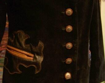 Leather Jacket, Western, Black, Suede, Oakridge, size 12,