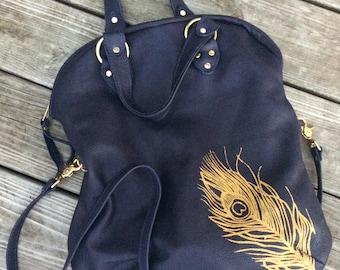 FOLDOVER TOTE - large leather bag - custom fold over bag - crossbody bag - large tote bag - large crossbody zippered bag - custom purse