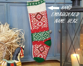 Customized Knitted Christmas Stockings, Christmas Stocking with Hand Embroidered Name, Personalized Xmas Stocking with Name, White Green Red