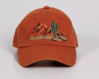 hand embroidered baseball cap South West Mountain and Cactus