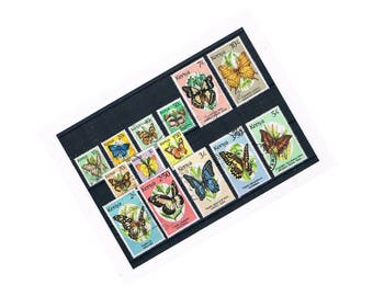 Vintage Kenya Butterfly Postage Stamps | beautiful butterflies, nature theme used stamp stock card | craft collage upcycle collect decoupage