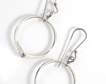 Rivot Hoops, Sterling Silver Earrings, Artisan Made