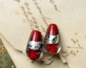 vintage foil and cased glass beads - cherry red drops with silver and blue flecks - one pair - 16mm