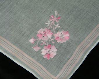 Vintage Embroidered Pink Floral Wedding Handkerchief, Hankie, Hanky, 9887