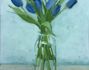 """Original Flower Painting . """"Today's Tulips"""" 20x16 in."""
