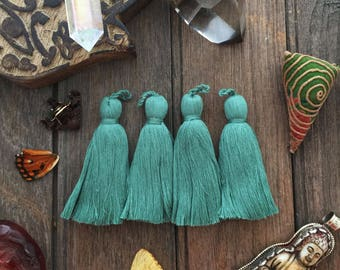 "Kale Green, 3.5"" Luxe Cotton Tassels with Braided Loop, 2 pcs / Large Handmade Cotton Tassel, Jewelry Making, Adornments, Home Decoration"