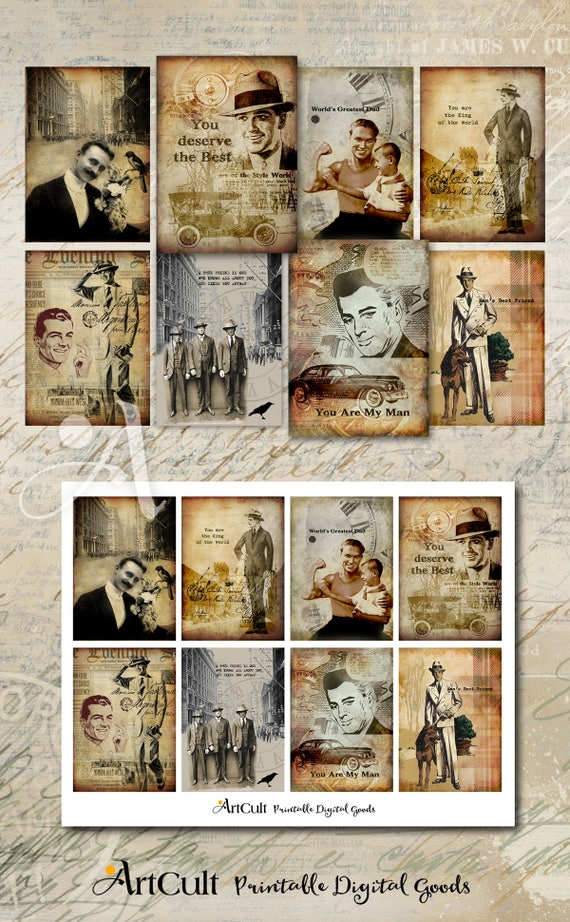 Printable Download Gift TAGS FOR MEN Digital Collage Sheet Vintage ephemera Paper Craft, Father's Day gift Greeting cards, decoupage images