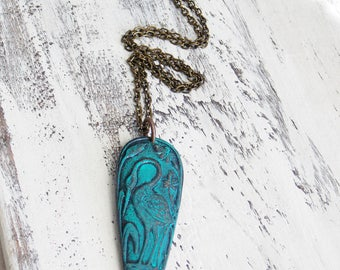 Patina Heron Turquoise Brass Bird Pendant Necklace Rustic Woodland BIrd Jewelry Nature Jewelry