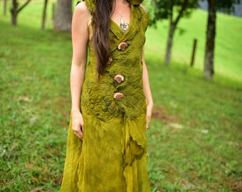 Nuno Felted Fairy Gown-Forest Gown-Woodland Costume-Leaf Silk Hooded Gown-Elven Princess Costume-Nuno Felted Vest With Silk-Felt Dress OOAK