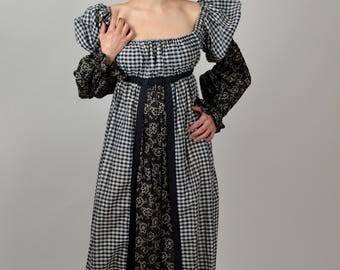 Boho Dress,Maxi Dress, 70s Dress, Long Dress, Folk Dress, Off the Shoulder, Hippie Dress, Peasant Dress, Gingham Dress, Cotton Dress,