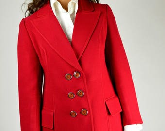 Red Jacket, Wool Jacket, Preppy Jacket, Fitted Jacket, City Chic, Double Breasted, Size Small, Vintage Jacket, 70s Jacket, Retro Jacket,