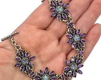 Amethyst Bracelet, Moonstone Bracelet, Sterling Silver, Vintage Bracelet, India, Linked Bracelet, Blue Moonstones, Vintage Moonstone, Links