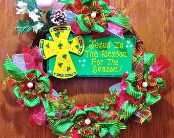 SALE - Jesus is the Reason for the Season - Christmas Welcome Door Grapevine Wreath!
