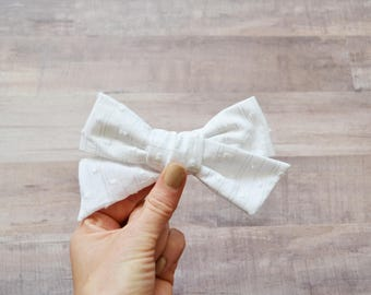 White Swiss Dot Simple Classic Hand tied Fabric Bow Nylon or Clip