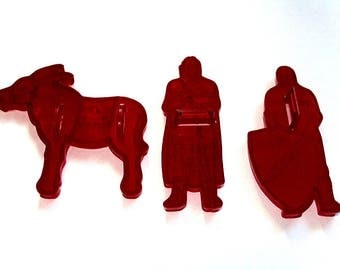 Cookie Cutters, Robin Hood Flour, Set of 3, Red Plastic Cutters, Alan A. Dale, Red Kitchen Decor, Flour Advertising, Kitchen Collectible