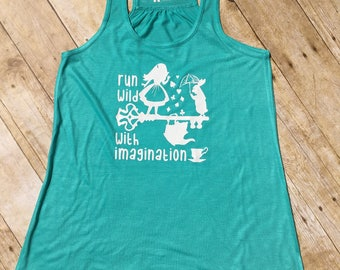Run Wild with Imagination. Alice Racer back tank. Alice in Wonderland shirt. White Rabbit. We're all mad here. Marathon tank.