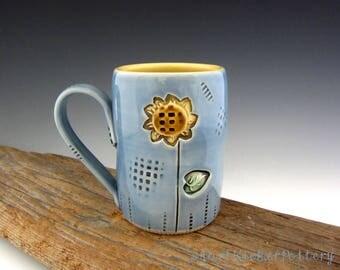 Sunflower Mug in Blue and Yellow - Pottery Mug - Coffee Mug - by DirtKicker Pottery